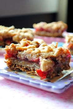 Cherry Crumble Bars make a sweet snack for anytime. Sturdy enough to send along in a lunch, these would be a pretty pink surprise for Valentine's Day!