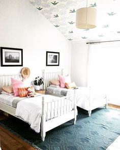 shared room + ceiling wallpaper