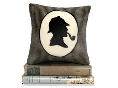 Sherlock Holmes Book Lovers Houndstooth Bookshelf Pillow Shadow Silhouette....I need this for the Library Solarium!