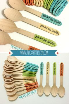 Glitter Dipped Dessert Wooden Spoons - Forks - Custom Stamp Opt. - Housewares - Utensils - Multiple Colors - Mix & Match - 25/pack