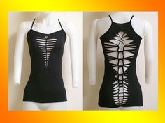 SIZE SMALL...ONLY 1 Made... Shredded Black Tank Womens / JuniorsTop SALE…