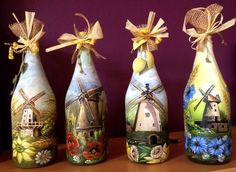 Windmühlen (Deko-Flaschen, Bild auf Glas/Akrylfarbe/Handarbeit)