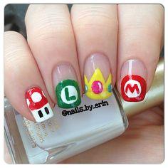Mario, Peach and Luigi nails