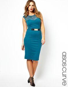 ASOS CURVE Belted Pencil Dress With Bardot Neckline
