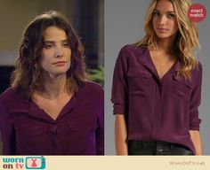 Robin's purple blouse with pockets on How I Met Your Mother. Outfit Details: http://wornontv.net/21864 #HowIMetYourMother