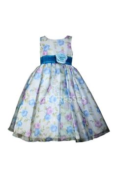 Blue Floral Printed Flower girl Dress