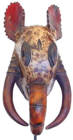 Africa    Guro Mask    Ivory Coast   A carved wood painted animal themed mask