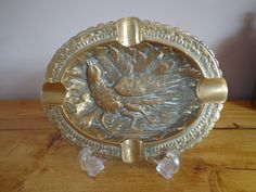 Beautiful Vintage Solid Brass Oval Ashtray Decorated with Bird and Oak Leaf Design by OnyxCollectables on Etsy