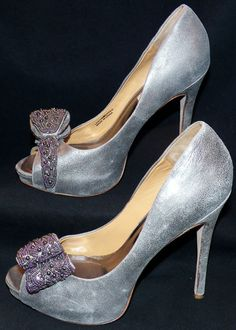 Badgley Mischka Women's Vonda Pewter Peep-Toe Pump 7.5 M #BadgleyMischka #PumpsClassics