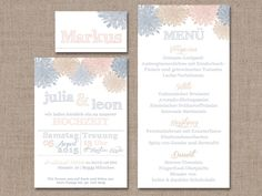 Hochzeitseinladung Shades of Summer Grau/Peach von PaperLoversDesign auf DaWanda.com