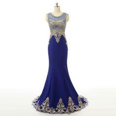 Royal Blue Mermaid Prom Dress Boat Neck See Through Open Back Beaded Applique Vestidos De Fiesta 2016 CS123