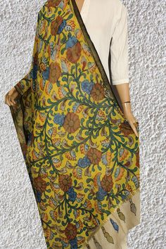 Bright and cheerful hand painted floral hues in silk cotton drapes - painting your days in the colours of Joy - Check out the new collection of Kalamkari Dupattas in Chanderi. Kalamkari Painting, High Fashion, Joy, Hand Painted, Colours, Bright, Paintings, Silk, Check