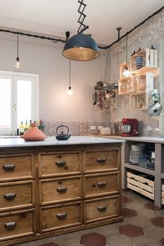 View full picture gallery of Appartamento Ostiense, Roma Industrial Style Kitchen, Industrial Interior Design, Rustic Kitchen, Country Kitchen, New Kitchen, Kitchen Decor, Antique Kitchen Island, Rustic Industrial, Cottage Kitchens
