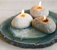 Love these rock candles, and I like the agate coasters as well.