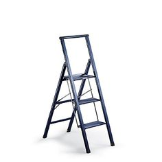 3 Step Slimline Ladder In Lagoon Blue 119 Folds To 2in Only 10