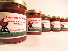 BBQ WEDDING FAVORS : BBQ Sauce wedding favors with personalized labels