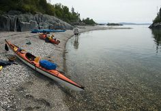 Paddling Lake Superior west from Naturally Superior Adventures
