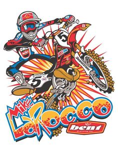See the amazing work of Wally Hackensmith, the motocross cartoons designed for leading athletes motocross