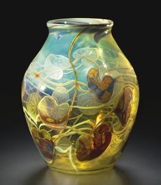"""Carved Cameo Paperweight """"Lily Pad"""" Vase, Tiffany Studios, Favrille Glass, ca.1900-03 (this is incredible close up)"""