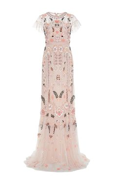 Pink floral embroidered tiered maxi dress by NEEDLE & THREAD for Preorder on Moda Operandi