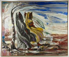Lot 287: Ann Grimmer (American, 1910-2011) Oil on Canvas; c.1966, signed lower right, depicting two females within an abstract winter landscape