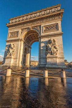 The Arc de Triomphe de l'Étoile is one of the most famous monuments in Paris. It stands in the centre of the Place Charles de Gaulle