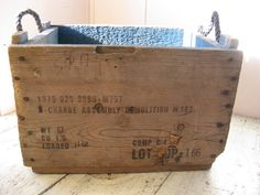 rustic wooden crate rope handles army ammo box by rivertownvintage, $44.95