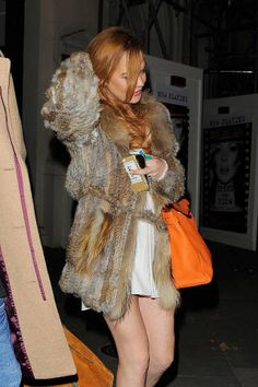 Lindsay Lohan leaves the Playhouse Theatre after her latest performance in play Speed-the-Plow on Oct. in London. Playhouse Theatre, Oct 1, Lindsay Lohan, Celebs, Celebrities, Play Houses, Fur Coat, Leaves, London