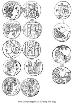 Ancient Greek Coins Printable - coloring sheets for ancient greece. Mystery of History Volume Lesson 75 Ancient Greece For Kids, Ancient Greek Art, Ancient Rome, Ancient Greece Crafts, Egyptian Art, Ancient Aliens, Greek History, Ancient History, European History