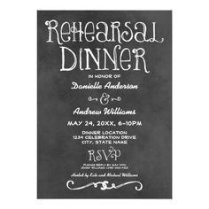 Backyard Wedding Rehearsal Dinner Rehearsal Dinner Invitation | Black Chalkboard