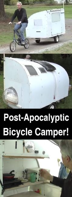 This bicycle camper is light enough to pull behind you, yet it's large enough for you stay out of the elements, relax, eat a meal, and even get some sleep.