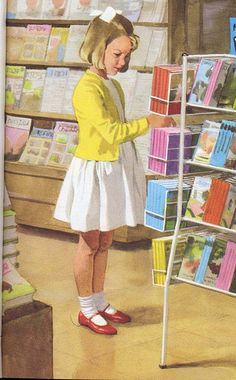 That magical place, the bookstore. - Vintage Ladybird Books 'Read and Write' (Peter and Jane)