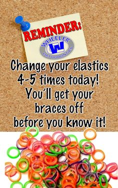 Use this photo on your phones lock/home screen to help remind you to wear and change your elastic ru Braces Food, Braces Tips, Kids Braces, Dental Braces, Teeth Braces, Dental Care, Braces Smile, Dental Hygiene, Braces Problems