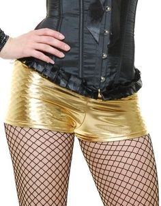 Women's Medium 8-10 Dance Crew Gold Lame Liquid Metal Boy Shorts Hot Pants, Size: Medium 8-10 approx 28-30 waist, 36-38 bust
