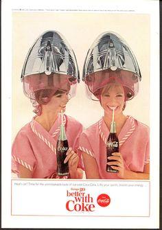 Coke Beauty Salon Theme Vintage Ad  1960s by SkippiDiddlePaper, $8.00