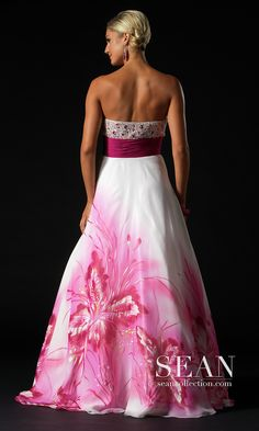 Long Strapless Floral Print Gown (promgirl.com) For more great ideas and information about our waterfront venue visit our website www.tidewaterwedding.com or give us a call 443 786 7220