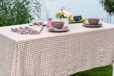 Washed linen tablecloth in brown and white checks. 100% linen. #washedlinentablecloth
