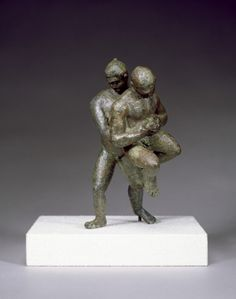 Bronze Wrestlers Hellenistic Greek 2nd-1st Century BC The knotted hairstyle of the wrestlers indicates that they are professional competitors, participating in one of the most popular Greek athletic contests. Contestants were not permitted to strike blows, but were allowed to break their opponents' bones. Source: The Walters Art Museum