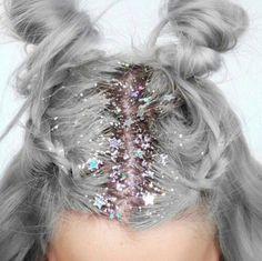 Hair accessory: grey hair pastel hair stars glitter bun halloween new year's eve 90s style