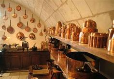 French Country Kitchen decor - copper pots