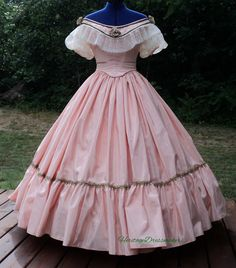 MADE TO ORDER--Civil War Reenacting Military Ball Gown Southern Belle Dress With Organza Sleeves and Lace Collar--see size chart pictured by Heritagedressmakers2 on Etsy https://www.etsy.com/listing/218697923/made-to-order-civil-war-reenacting
