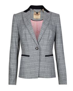 Buy Ted Baker Gorgie Check Jacket, Grey from our Women's Coats & Jackets range at John Lewis & Partners. Checked Suit, Checked Blazer, Blazers For Women, Jackets For Women, Clothes For Women, Work Clothes, Blazer Fashion, Fashion Outfits, Ted Baker Jacket
