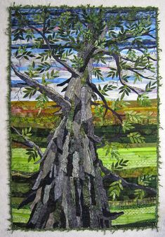 """THE HICKORY TREE   17 3/4"""" X 26 3/4""""   Original Design   Raw Edged Fused Applique   Machine Quilted   Couched Yarn Binding             ..."""