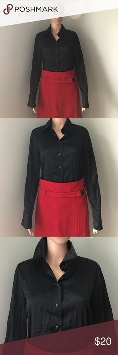 Kate Hill 95% Silk Black Button Down Shirt Sz 8 Blouse in good condition. No flaws. All original buttons intact. Just needs to be pressed or dry cleaned to remove wrinkles. I assume blouse is dry clean only because it is primarily silk. Strenesse $350 red skirt also for sale. Size 8. Kate Hill Tops Button Down Shirts