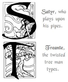 Fantasy Decorative Initials Alphabet * Art & Poem by Selina Fenech - S is for Satyr, who plays upon his pipes.T is for Treante, the twisted tree man types.* Myth Mythical Mystical Legend Elf Elves Dragon Dragons Fairy Fae Wings Fairies Mermaids Mermaid Siren Sword Sorcery Magic Witch Wizard Coloring pages colouring adult detailed advanced printable Kleuren voor volwassenen coloriage pour adulte anti-stress kleurplaat voor volwassenen Line Art Black and White
