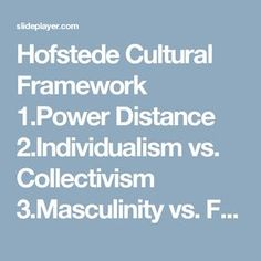 Hofstede Cultural Framework 1.Power Distance 2.Individualism vs. Collectivism 3.Masculinity vs. Femininity 4.Uncertainty…