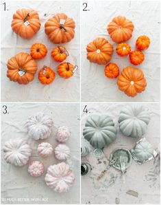 Paining the pumpkins a muted color.
