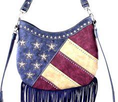 Montana West~American Flag Fringe Hobo Bag/Crossbody Purse~Stripes~Star Studs~NV #MontanaWest #HoboCrossBodyBag