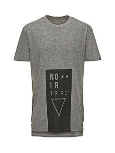 NOIR PRINT LONG FIT T-SHIRT, Grey Melange