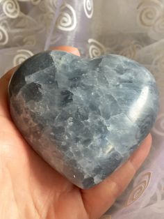 Blue Calcite! Blue Calcite Heart in the House! Deep Blue Calcite Puff Heart with Sparkly Inclusions for Calming and Clearing! by shspirithouse on Etsy